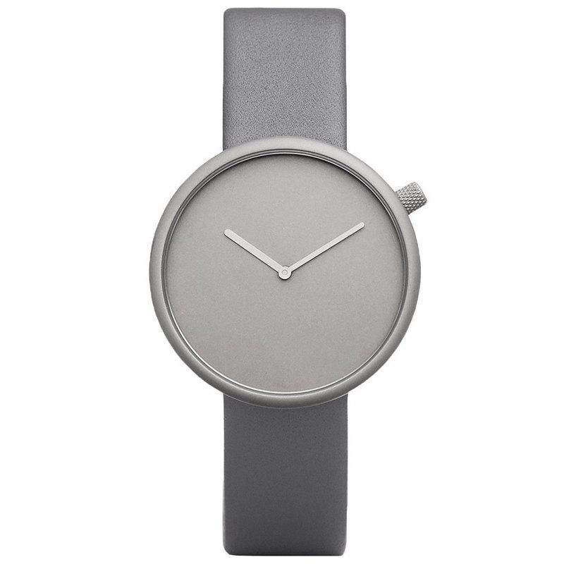 Montre Minimaliste Analogique Sangle en Simili Cuir - gris