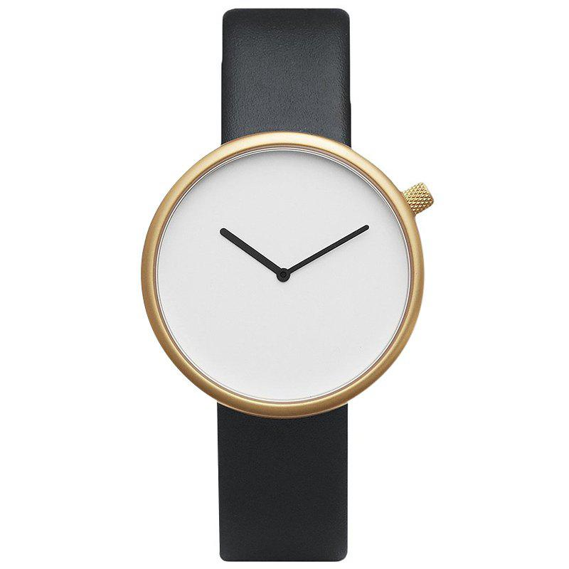 Montre Minimaliste Analogique Sangle en Simili Cuir - NOIR OR