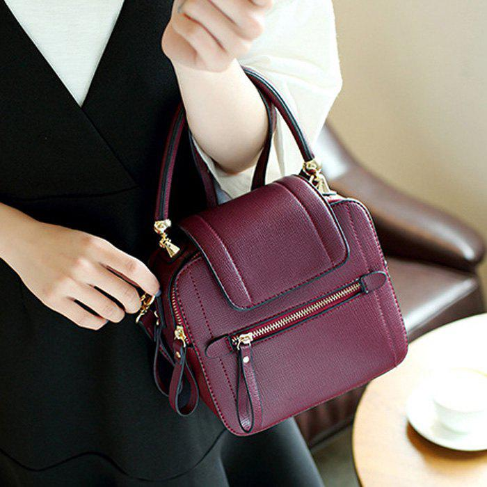 Faux Leather Zippers Handbag - WINE RED