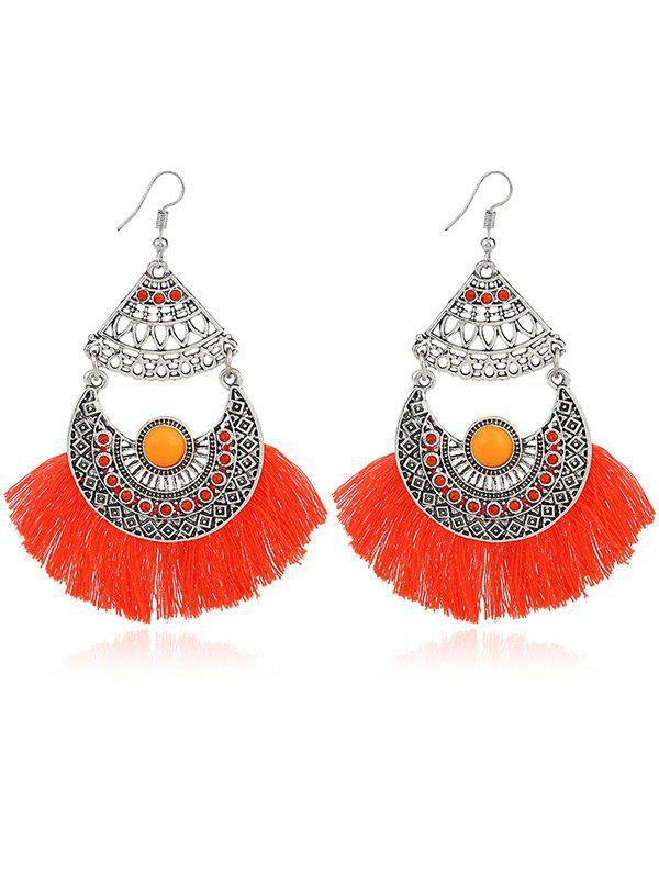 Rhinestone Gypsy Moon Tassel Hook Earrings - Orange
