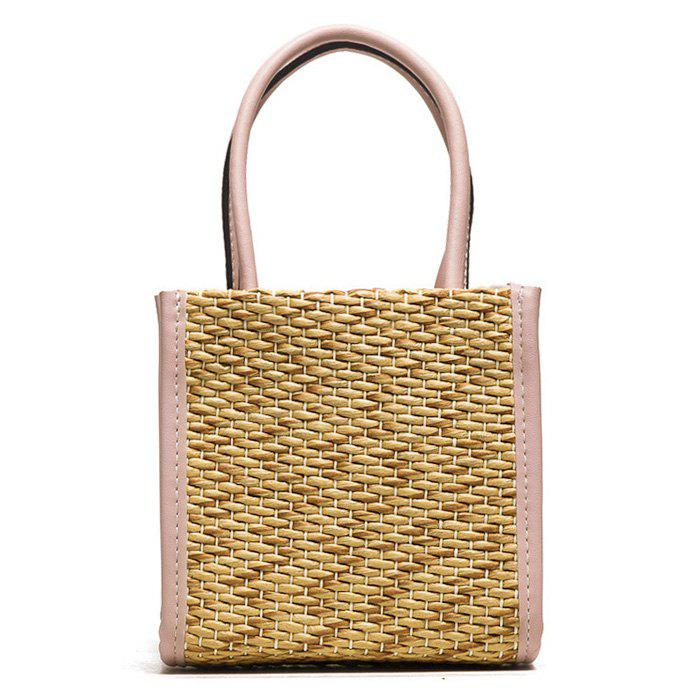 Straw Weave Tote Bag - PINK