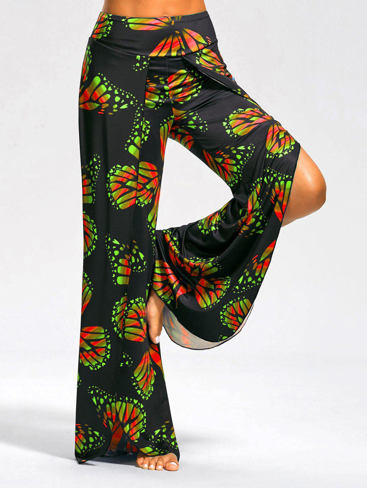 High Slit Butterfly Print Palazzo Pants - Rouge et Vert S