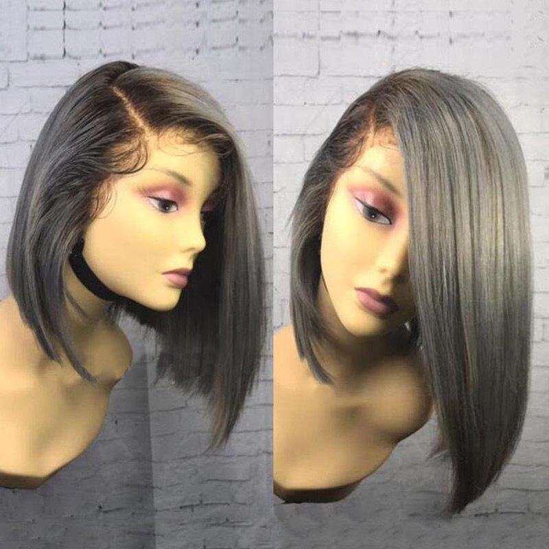 Side Part Colormix Straight Bob Medium Lace Front Synthetic Wig - COLORMIX