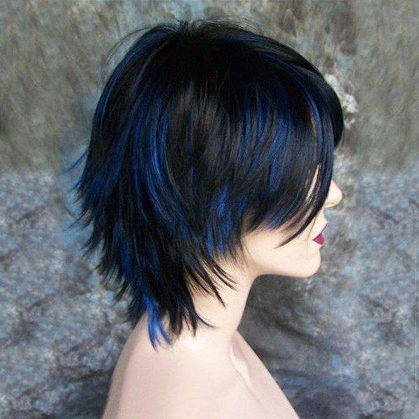 Short Inclined Bang Highlight Straight Synthetic Wig short pixie cut capless straight inclined bang synthetic wig