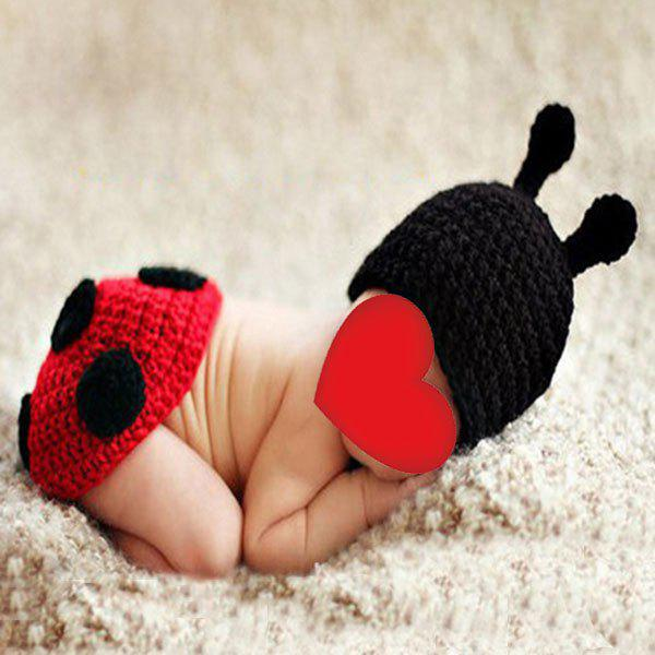 Knitted Ladybird Photography Clothes Set For Baby - BLACK RED