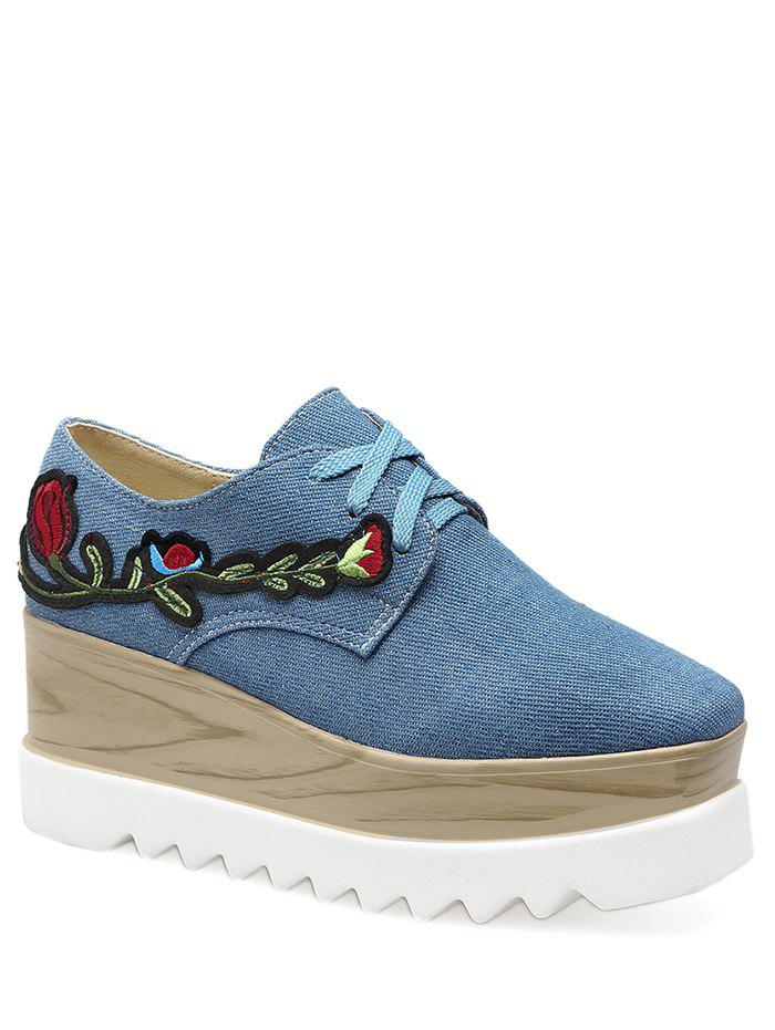 Square Toe Embroidery Denim Wedge Shoes - DENIM BLUE 37
