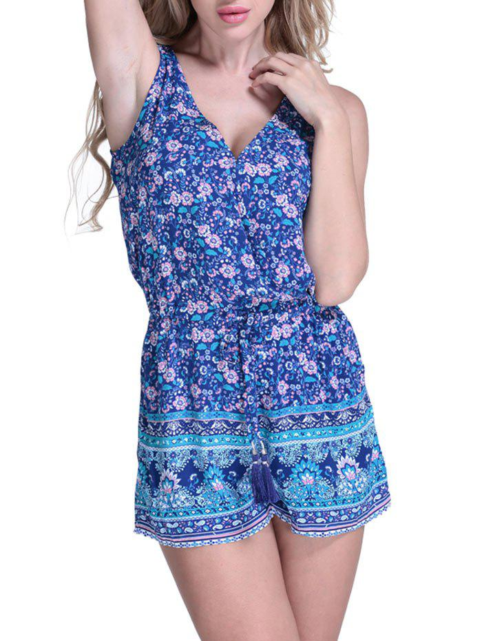 Drawstring Waist Floral Cover Up Romper - BLUE L