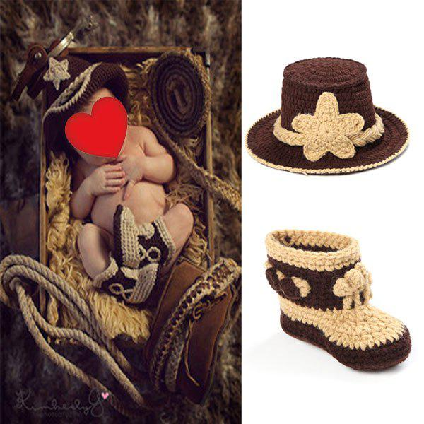 Cowboy Knit Photography Clothes Set For Baby - BROWN