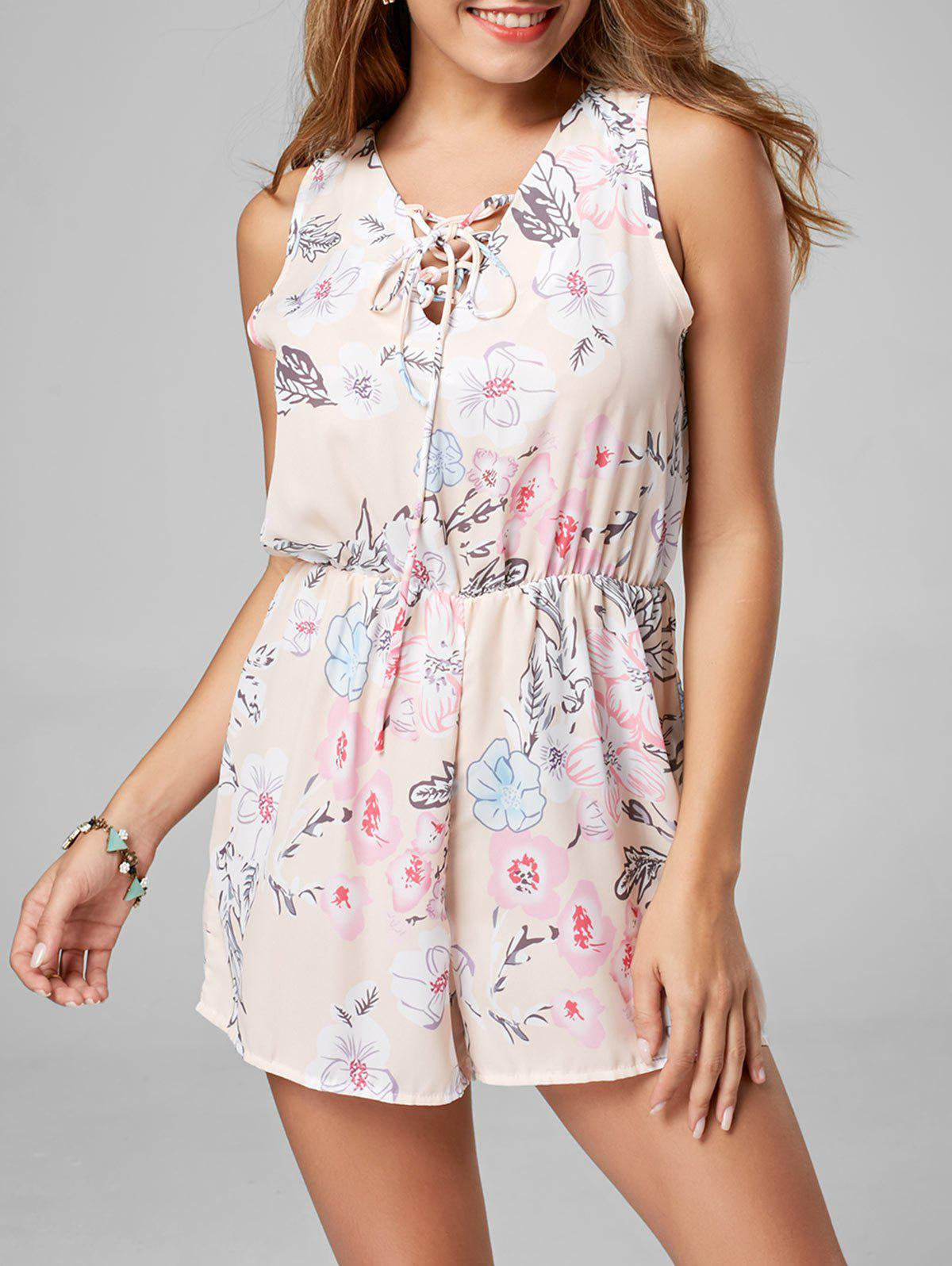 Lace Up Sleeveless Chiffon Floral Romper - PINK S