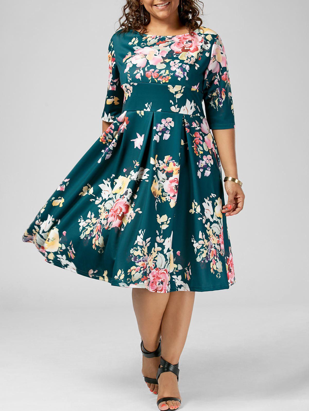 Floral High Waisted A Line Plus Size Dress floral bird print plus size a line dress