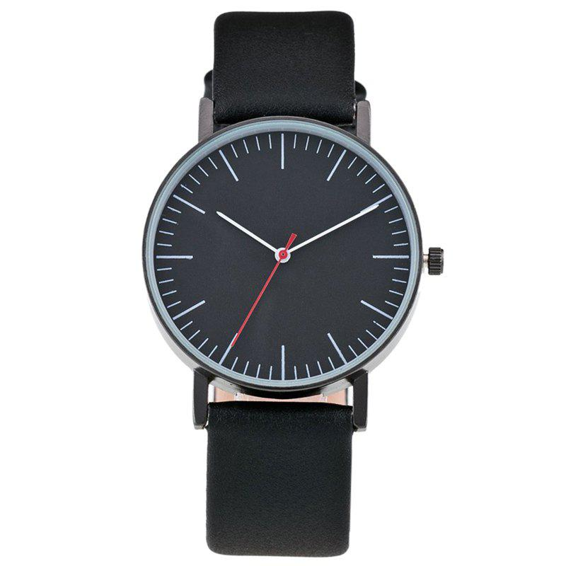 Faux Leather Band Minimalist Watch - BLACK