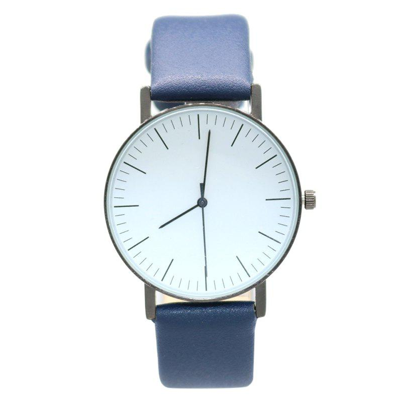 Faux Leather Band Minimalist Watch - BLUE