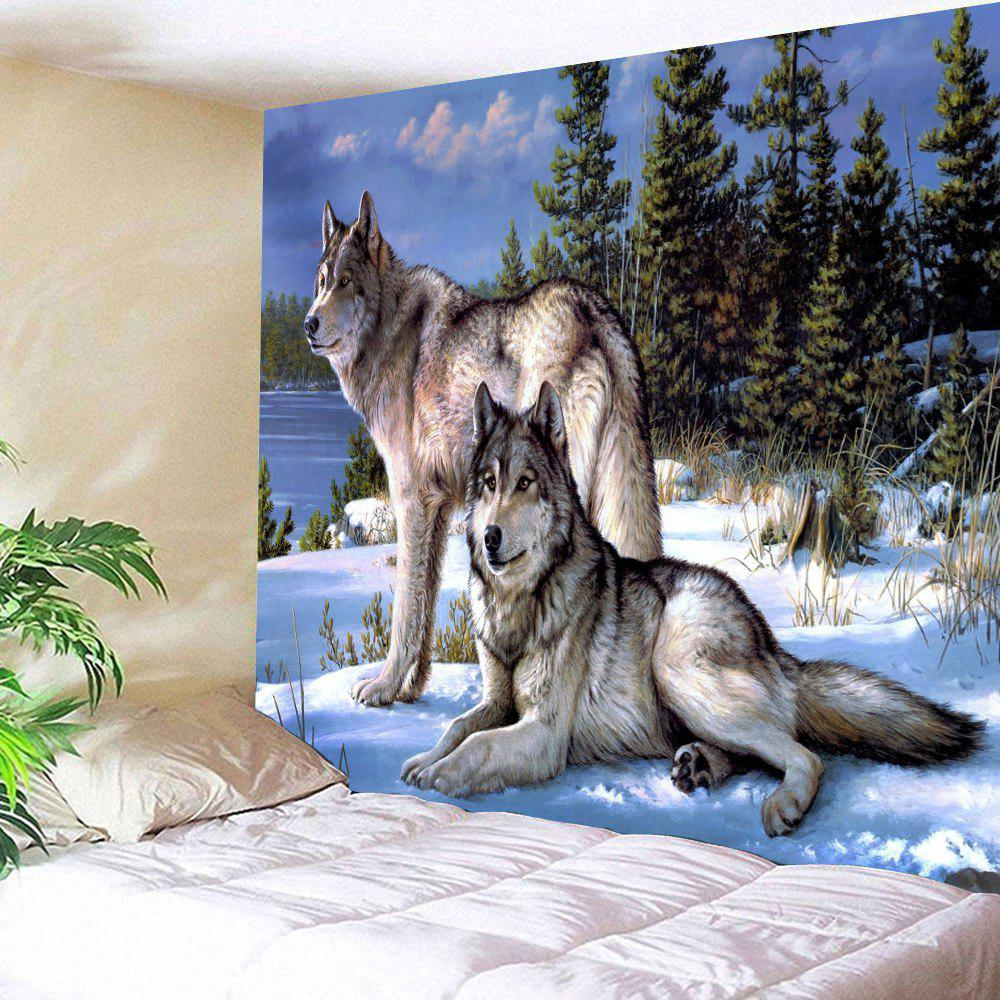 Snow Wolf  Wall Art Hanging Throw Fabric Tapestry wall hanging watercolor space throw tapestry