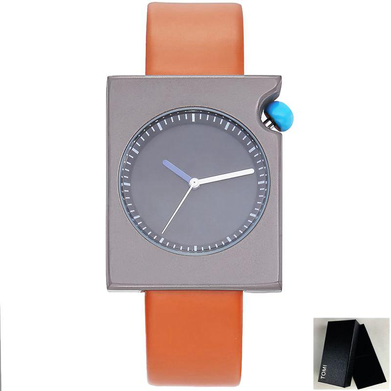 Faux Leather Strap Rectangle Watch - BROWN