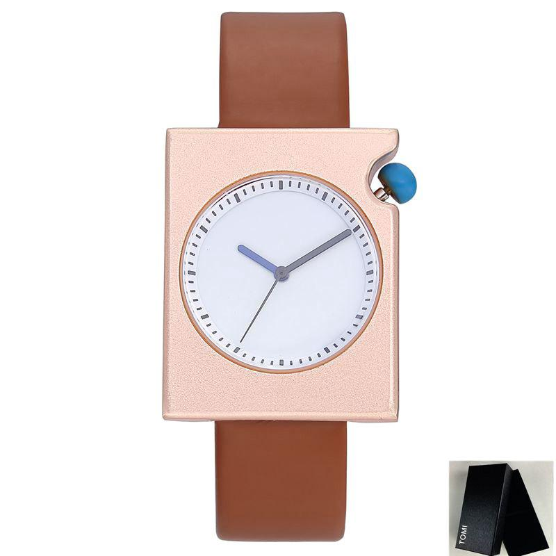 Faux Leather Strap Rectangle Watch - GOLD BROWN