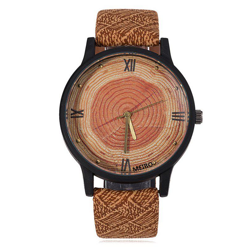 Faux Leather Wood Growth Rings Face Watch - BROWN