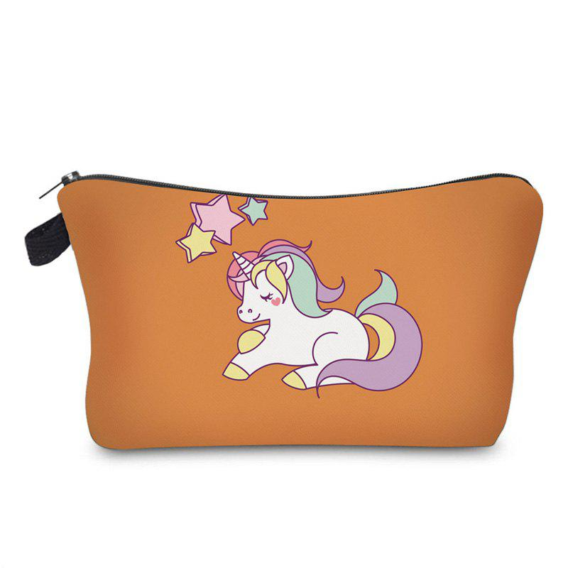 Sac de Maquillage Imprimé Unicorne de Dessin Animé - Orange