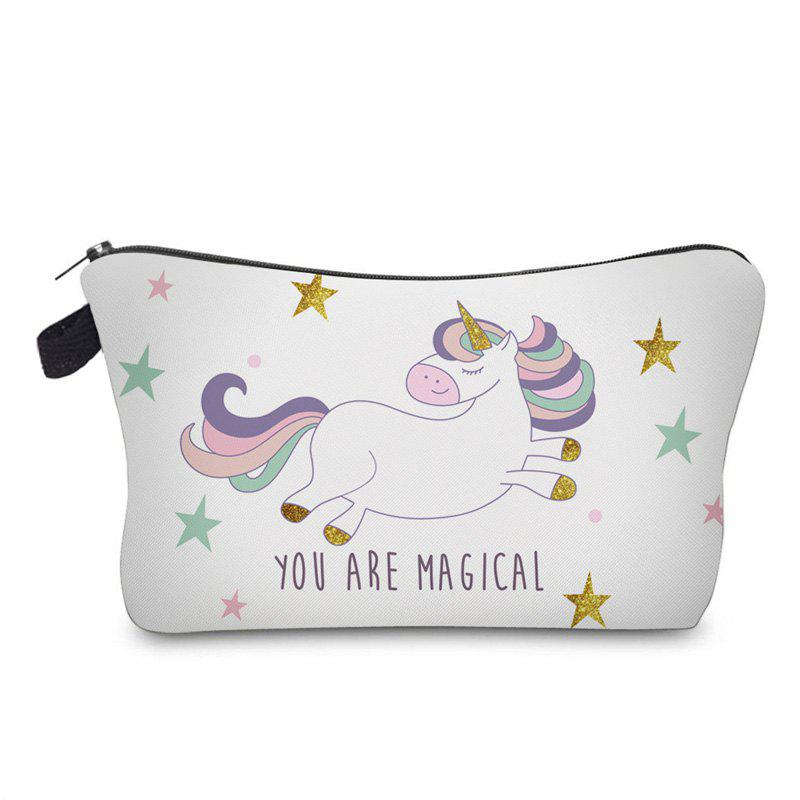 Cartoon Unicorn Printed Makeup Bag - WHITE