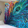 Peacock Feather Print Wall Tapestry - COLORFUL W71 INCH * L71 INCH