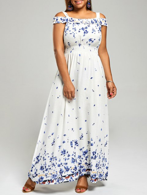 41% OFF] 2019 Plus Size Floral Print Cold Shoulder Maxi Dress In ...