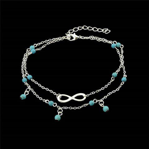 Faux Turquoise Infinite Charm Beads Anklet - SILVER