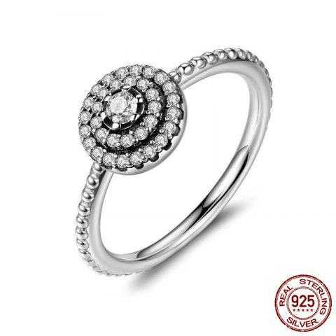 Rhinestone Layered Round Finger Ring - SILVER 7