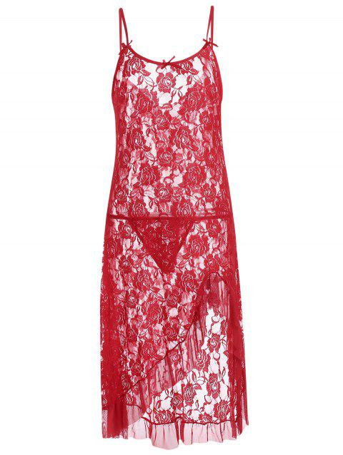 694eec3f4 17% OFF  2019 Cami Lace Ruffles Sheer Babydoll In RED