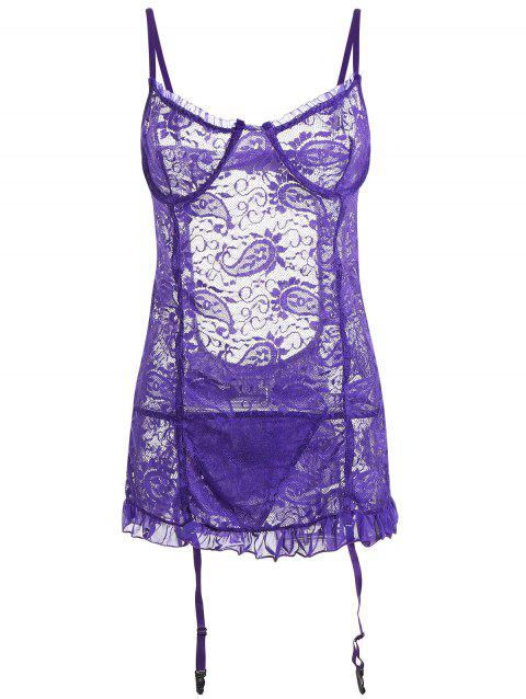 Mini Lace Sheer Ruffle Slip Babydoll - Pourpre L