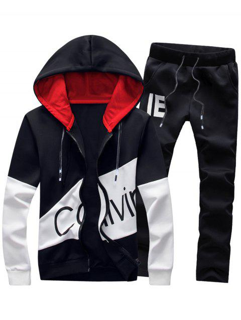 Color Block Graphic Print Hoodie and Pants Twinset - BLACK 4XL