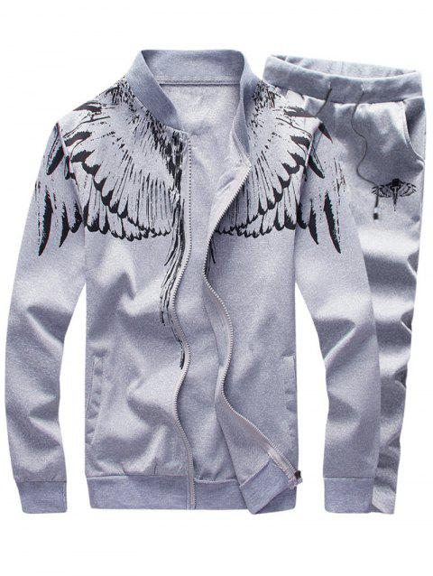 Wings Print Stand Collar Zip Up Jacket and Pants Twinset - LIGHT GRAY L