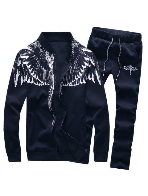 Wings Print Stand Collar Zip Up Jacket and Pants Twinset - DEEP BLUE L