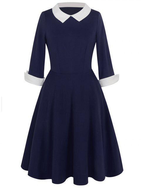 Vintage Peter Pan Collar Two Tone Dress - PURPLISH BLUE S