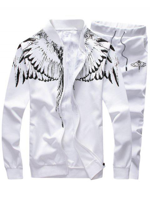 Wings Print Stand Collar Zip Up Jacket and Pants Twinset - WHITE 2XL