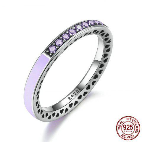 Rhinestone Heart Sterling Silver Circle Ring - LIGHT PURPLE 6