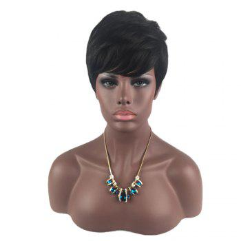 Side Bang Layered Short Straight Hair Hair Wig - Noir profond