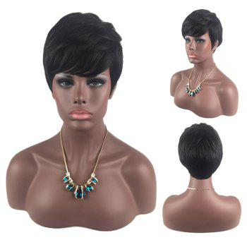 Side Bang Layered Short Straight Human Hair Wig