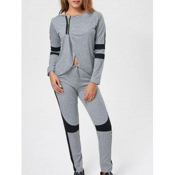 Two Tone Hooded Zip Sports Suit