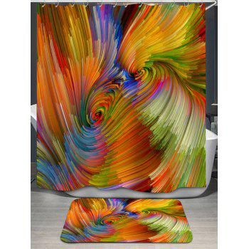 Psychedelic Vortex Printed Bath Curtain and Rug