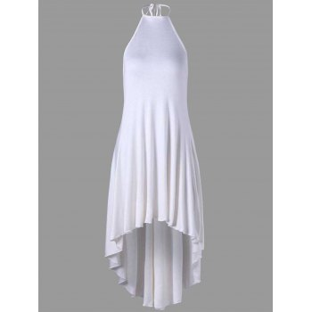 High Low Halter Backless Dress - WHITE XL
