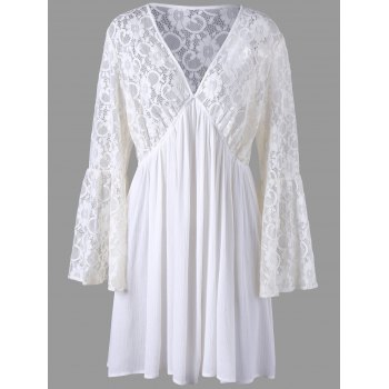 Plus Size Lace Trim Flare Sleeve Dress