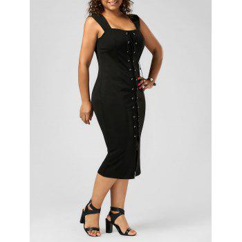 Lace Up Bodycon Plus Size Midi Dress