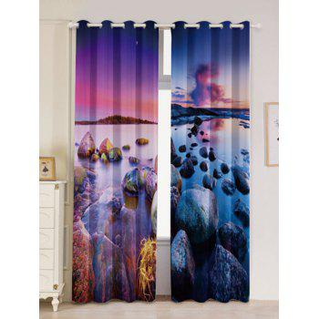 2Pcs Seaside Sunset Blackout Curtain Window Treatment - COLORMIX W53 INCH * L96.5 INCH