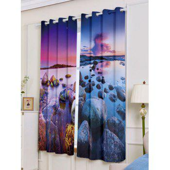 2Pcs Seaside Sunset Blackout Curtain Window Treatment - COLORMIX W53 INCH * L63 INCH