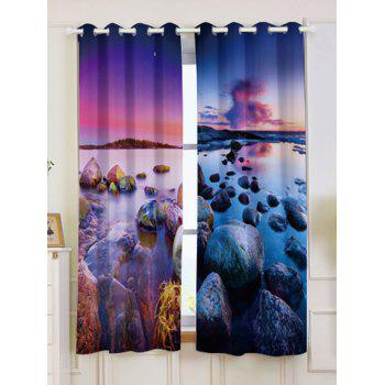 2Pcs Seaside Sunset Blackout Curtain Window Treatment - COLORMIX COLORMIX