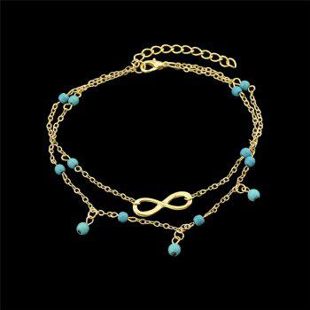 Faux Turquoise Infinite Charm Beads Anklet - GOLDEN