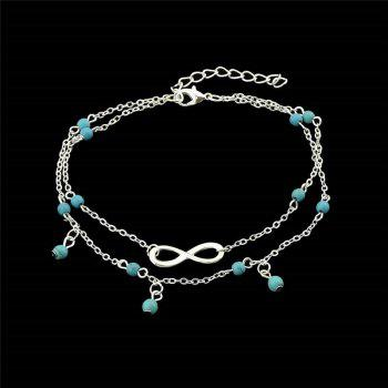 Faux Turquoise Infinite Charm Beads Anklet - SILVER SILVER