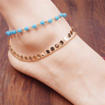 Layered Disc Sequins Beaded Chain Anklet - GOLDEN GOLDEN