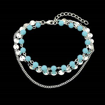 Layered Disc Sequins Beaded Chain Anklet - SILVER SILVER