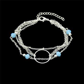 Beads Circle Layered Chain Bracelet - SILVER SILVER