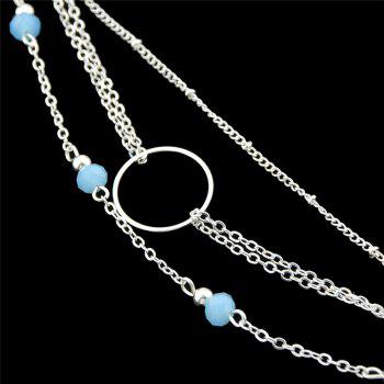 Beads Circle Layered Chain Bracelet -  SILVER